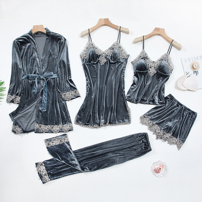 2020 Gold Velvet 4 Pieces and 5 Pieces Warm Winter Pajamas Sets Women Sexy Lace Robe Pajamas Sleepwear Kit Sleeveless Nightwear 20