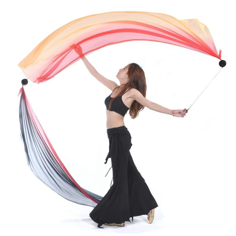 2Pcs Silk Veil And 2 Pcs POI Chain Ball Belly Dance Silk Veil POI Streamer Stage Thrown Balls Women Belly Dance Level Hand Props