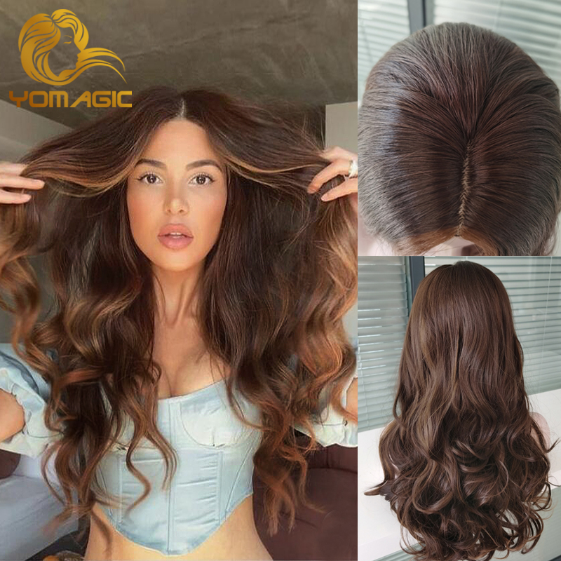 4*4 PU Cap Synthetic Hair Wigs Long Water Wavy Ombre Brown Color Hair Wig Heat Resistant Fiber Hair Wigs Looks Natural Scalp