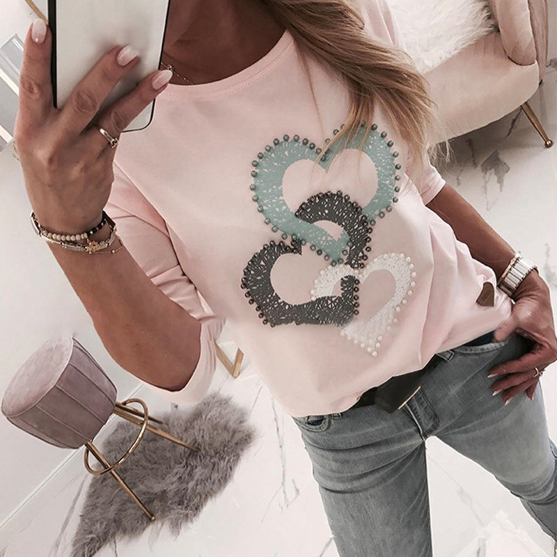 Women Beaded Heart Print Round Neck Long Sleeve T-shirt Women Casual Spring Autumn T Shirt Tops Pink Cute Lady Tees