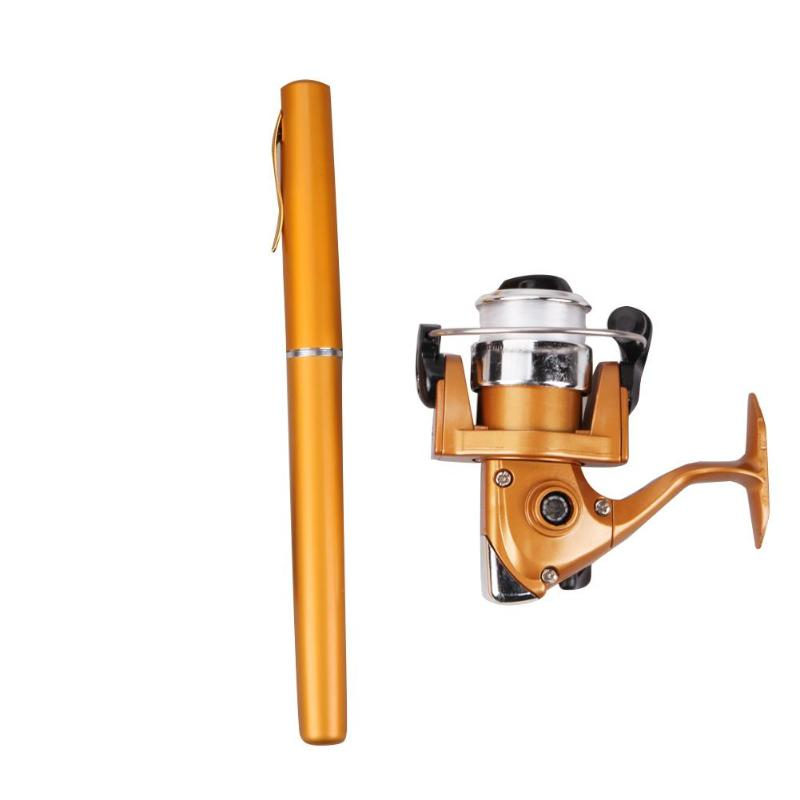 Fishing-Rod-Pole Spinning-Reel Telescopic Durable-Rod-Combo Mini with Gold Classic Delicate-Texture title=