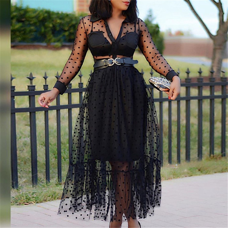 Women Black Mesh Two Pieces Set Polka Dot See Through Transparent Shirts Tops Tulle Skirts Lining Elastic Waist Pleated Jupes