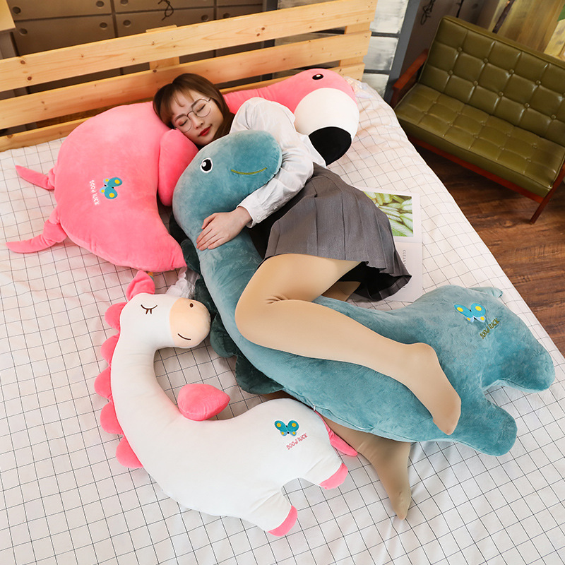 80~120cm Giant Unicorn Toy Stuffed Animal Boyfriend Pillows Gift For Lover Birthday Dinosaur Flamingo Message Pillow Bed Cushion