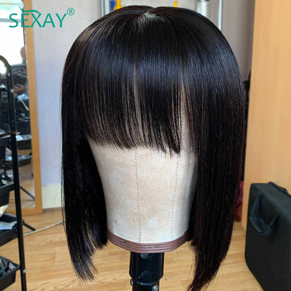 Short Human Hair Bob Wigs 6-14 Easy to Wear&Manage Malaysian Remy Hair Fringe Glueless Full Machine Human Hair Wigs With Bangs