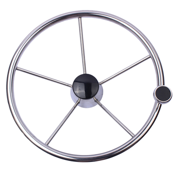 13-1/2 inch Boat Steering Wheel Stainless 5 Spoke 25 Degree with Knob Heavy Duty Marine Boat Accessories Marine for Marine Yacht