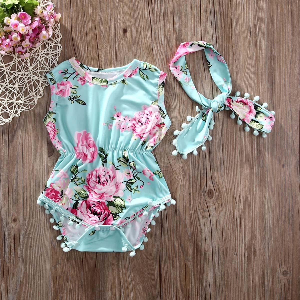 Sleeveless Floral Tassle Bodysuit For Baby Girls