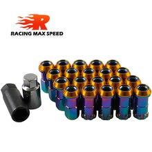 20PCS Racing Auto Modificatie R40 Band Moer M12x1.25/1.5 Wiel Moer Chrome Titanium Coating Anti Diefstal Wielmoeren lock Set Jdm