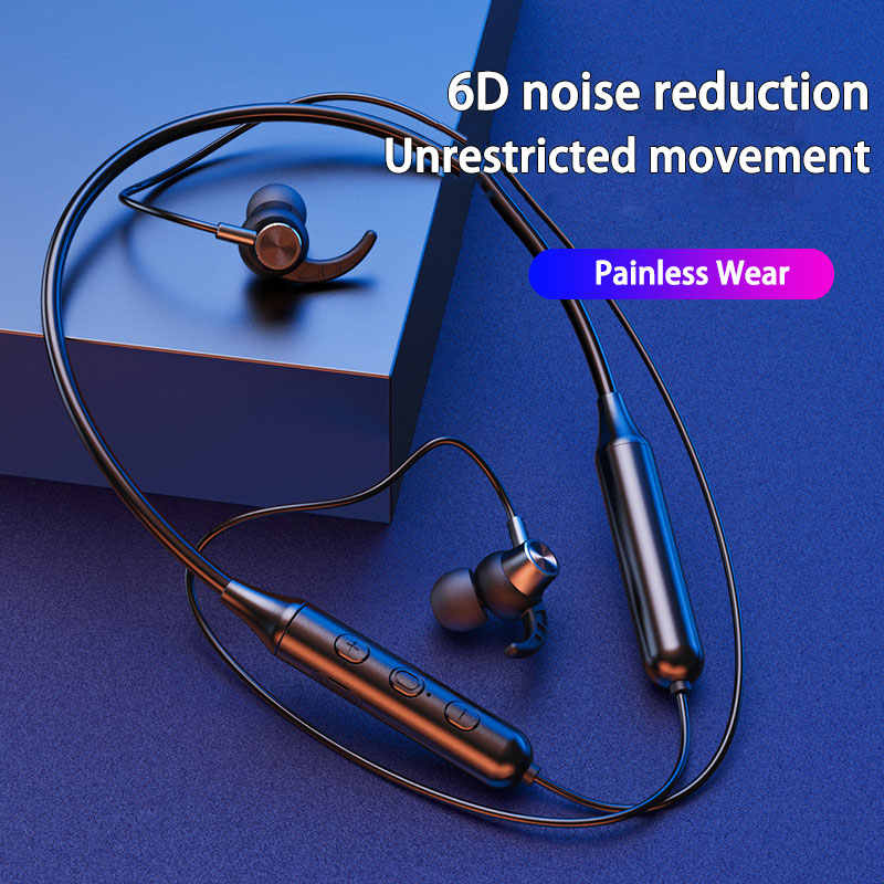 5.0 Bluetooth Magnetic Nirkabel Bluetooth Headset Neckband In-Ear Olahraga Tahan Air Earbud dengan Mikrofon untuk Iphone Huawei