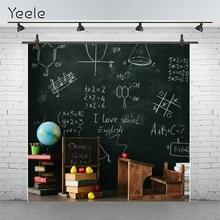 Yeele 칠판 책 과일 수학 클래스 다시 학교 테이블 사진 배경 사진 배경 사진 스튜디오