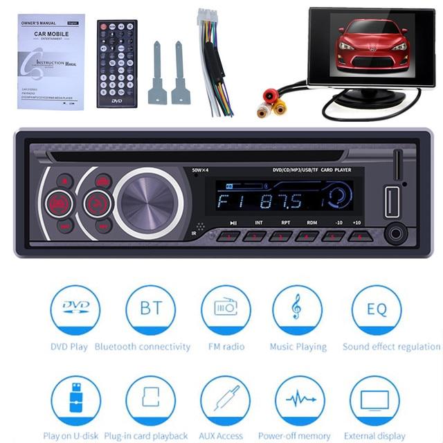 1 + รถ CD DVD VCD เครื่องเล่นบลูทูธ 4.0 แฮนด์ฟรีวิทยุ FM วิดีโอเพลงเครื่องเล่น DVD/USB/AUX/TF LCD มัลติมีเดีย