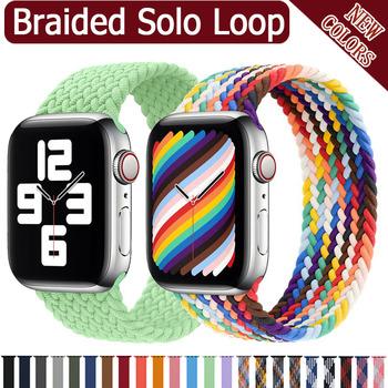 2020 pleciony pasek z nylonu Solo Loop dla Apple Watch band 44mm 40mm 38mm 42mm elastyczna bransoletka dla serii iWatch 6 SE 5 4 3 tanie i dobre opinie ProBefit CN (pochodzenie) 22cm Paski do zegarków Nowa z metkami For apple watch
