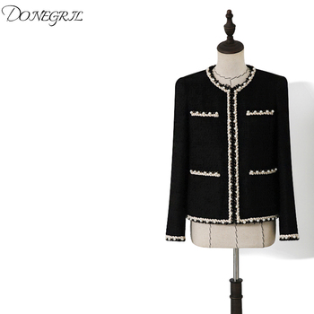 2020 Spring Autumn Women Elegant Pearls Beading Short Tweed Coats Ladies O-neck Covered Button Jackets Coat Black