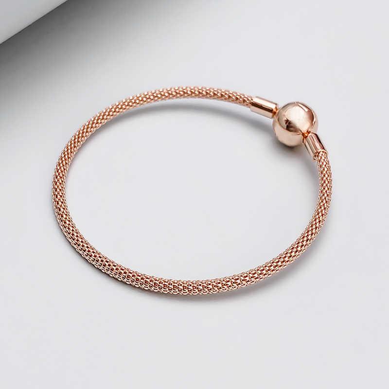 BBee Schlange Kette Ball Verschluss Mesh Armband Fit Pandora Armreifen Frauen Trendy Charme DIY Geschenk Schmuck Party Armband für Frauen