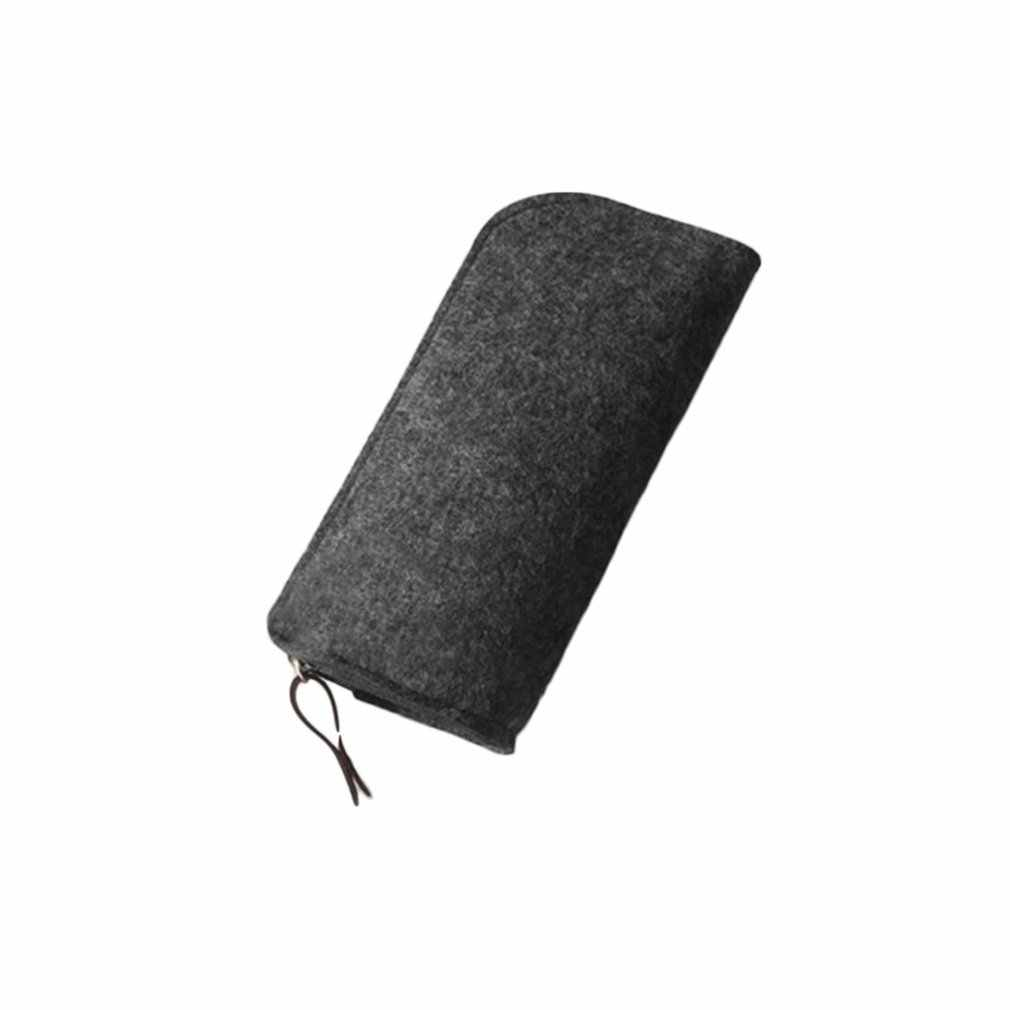 Solid Color Multifunctional Students School Pencil Bag Pencil Pouch Office Stationery Soft Felt Material Pencil Case