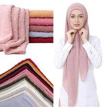 Новые флокированные Пузырьковые шифоновые хиджабы-шарфы для мусульманских женщин, одноцветные дышащие исламские головные уборы, арабские головные шарфы