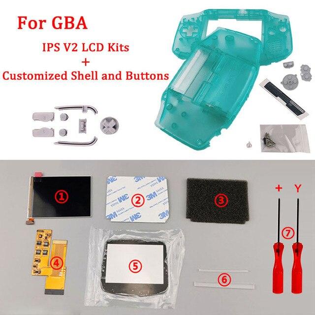 جديد مخصص شل الإسكان والأزرار مع IPS V2 LCD مجموعات الشاشة ل GBA الخلفية LCD V2 شاشة عالية السطوع ل GBA