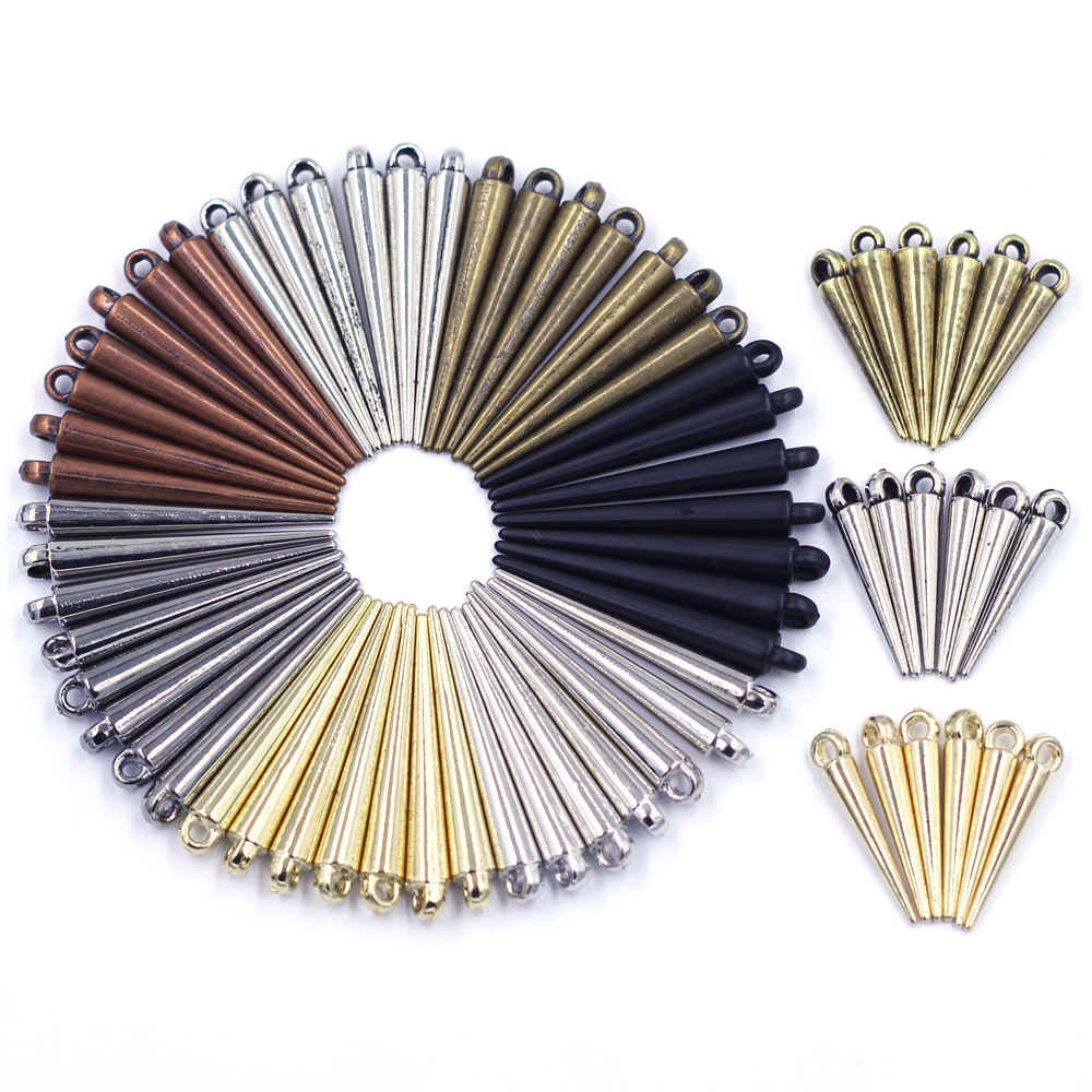 50Pcs Pendants Spike Tear Rivet Punk Studs and Spikes Earring Acrylic Cone For Bracelets Jewelry DIY Making Charms Findings
