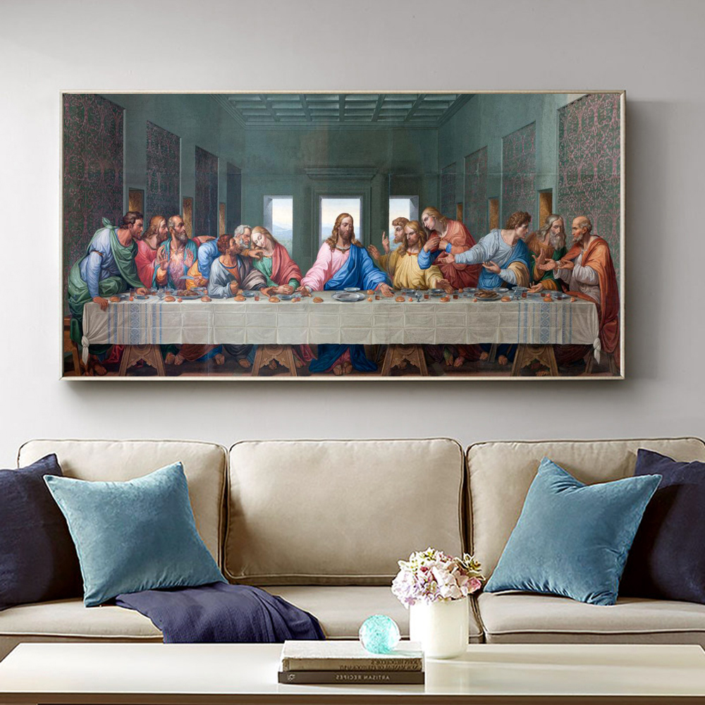 Famous Painting Posters and Prints Wall Art Canvas Painting Da Vinci's Last Supper Picture for Living Room Wall Decor Cuadros