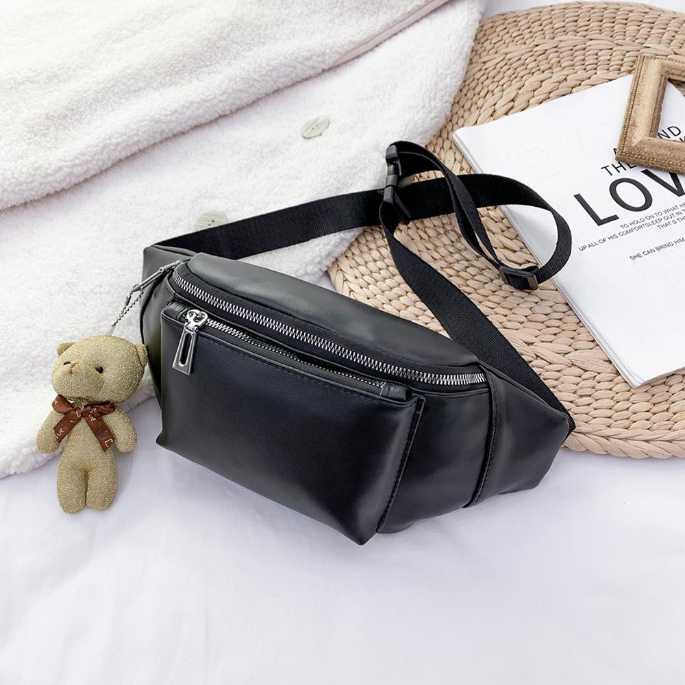 Fashion Solid Color Women Fanny Waist Bags PU Leather Bear Pendant Chest Shoulder Pack Ladies Zipper Phone Pouch