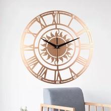 New European Circle Retro Acrylic Wall Clock Creative Living Room Decor Sun Roman Three-Dimensional Digital Hot Sale