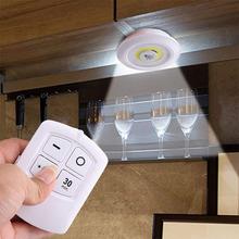 Oświetlenie podszafkowe LED COB zasilanie bateryjne remtoe ściemnialne krążki świetlne szafy oświetlenie do szafy prezentacja lampka nocna tanie tanio NoEnName_Null 20000H Suche baterii Touch