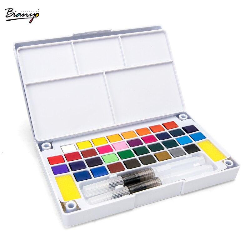 Bianyo Transparent solide aquarelle peinture costume 12/18/24/36 couleurs aquarelle pour pinceau stylo peinture dessin étudiants artiste Art