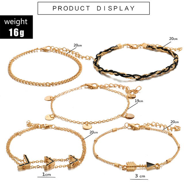 docona Punk Gold Color Crystal Arrow Multilayer Anklets for Women Metal Weaving Charms Anklet Party Jewelry Tobilleras 8851