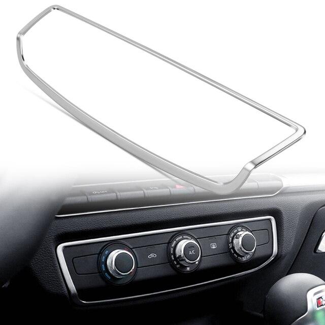 تصفيف السيارة الداخلية وحدة التحكم لوحة تكييف الهواء التبديل غطاء الكسوة الفولاذ المقاوم للصدأ اكسسوارات لأودي A3 8 فولت 2014 2017 سنة