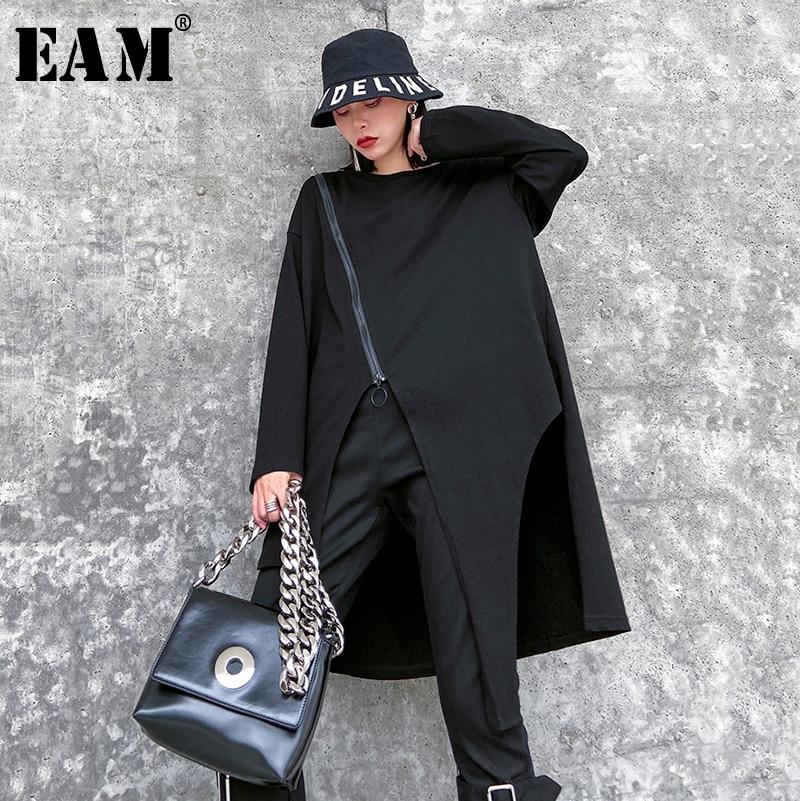 [EAM] Women Black Asymmetrical Zipper Big Size T-shirt New Round Neck Long Sleeve  Fashion Tide  Spring Autumn 2020 1R509
