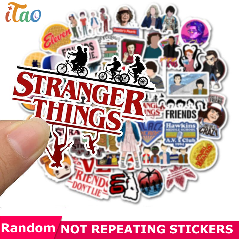 10/20/30/40/50 PCS Pack Stranger Things Sticker Waterproof PVC Skateboard Snowboard Motorcycle Guitar Laptop Kids Toys Stickers