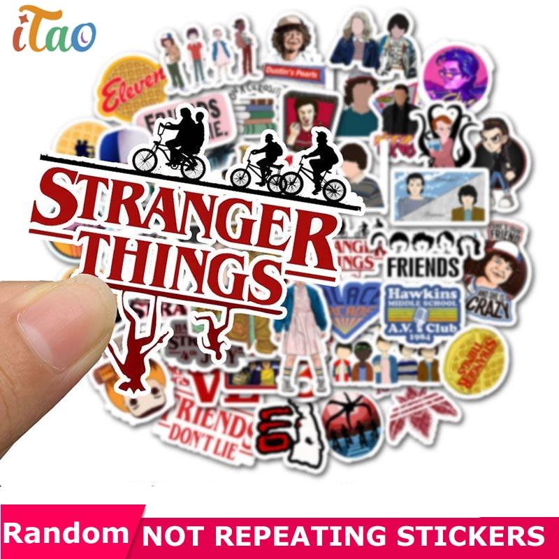 10/20/30/40/50 PCS Pack Stranger Things Sticker Waterproof PVC Skateboard Snowboard Motorcycle Guitar Laptop Kids Toys Stickers
