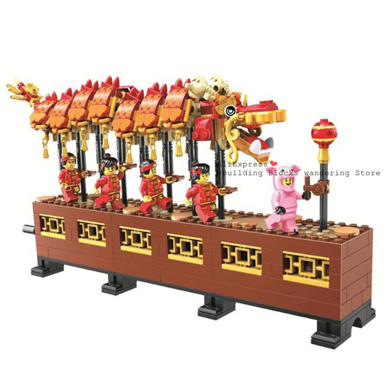 80102 652pcs Idea Series The Chinese New Year Dragon Dance Festival Model Building Block Brick Toys For Children Gift