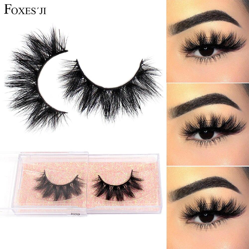FOXESJI 3D Mink Lashes False Eyelashes Fluffy Thick Cross Dramatic Eyelashes Eye Lashes Reusable Wispy Eyelash Extension Make Up