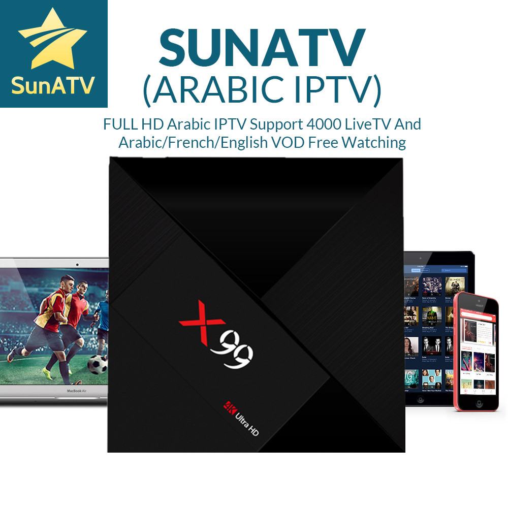 X99 SUNATV IPTV Ultra HD 4K With 1 Year TV Box RK3399 Android 7.1 4G/32G 7000Channels France Arab Bulgaria Sweden USA Canada Зарядное устройство