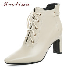 Meotina Autumn Ankle Boots Women Natural Genuine Leather Chunky High Heel Short Boots Zip Square Toe Shoes Ladies Winter Size 39 стоимость