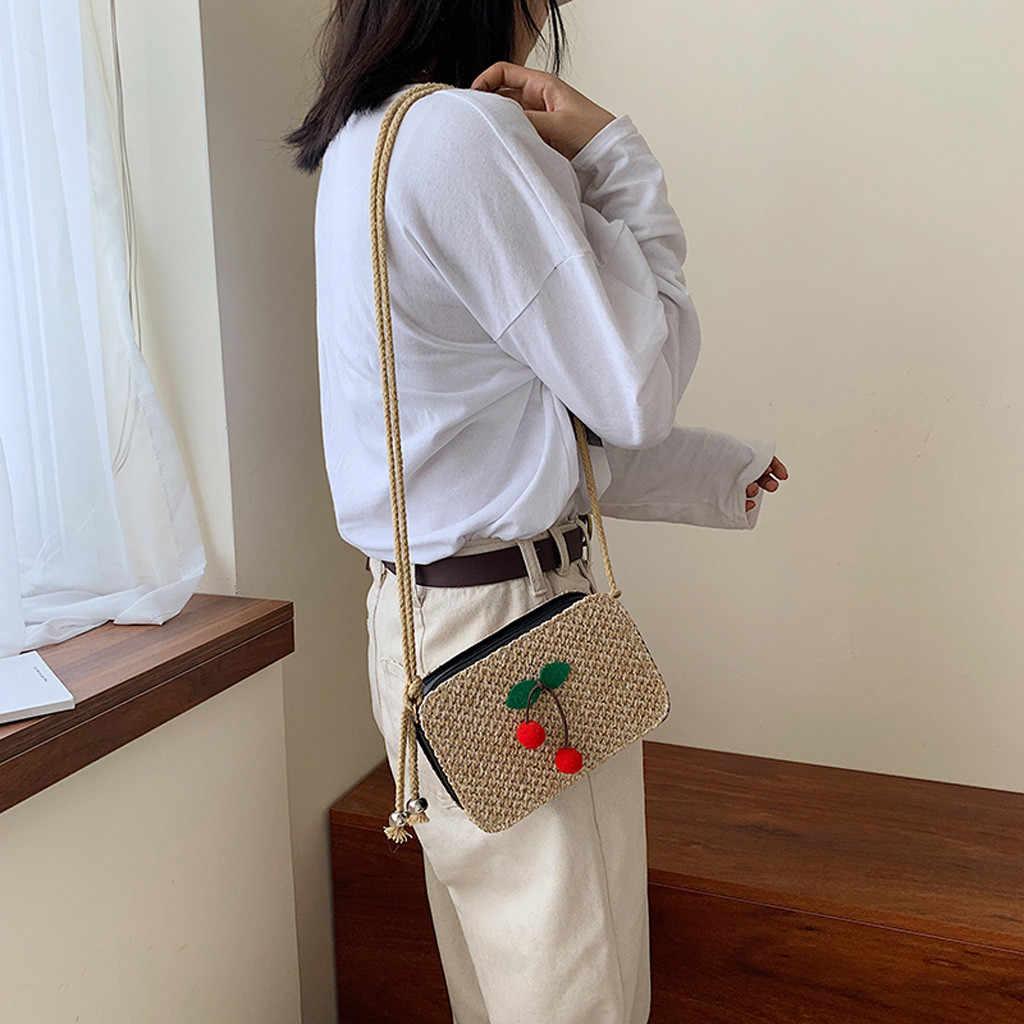 2019 platz Stroh Taschen Frauen Sommer Rattan Tasche Handarbeit Gewebt Strand Bolsa Feminina Kirsche Böhmen Handtasche Bali Wicker Sac