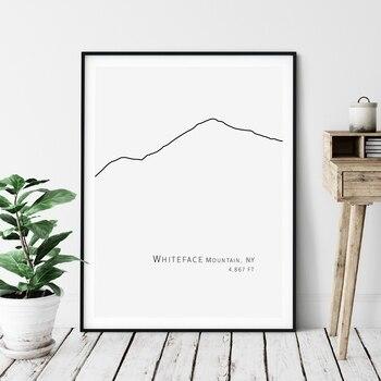 Cara Blanca Montañas de Adirondack línea dibujo de pintura de foto blanco y negro, minimalista cartel pared grande Lona de arte impresiones de decoración