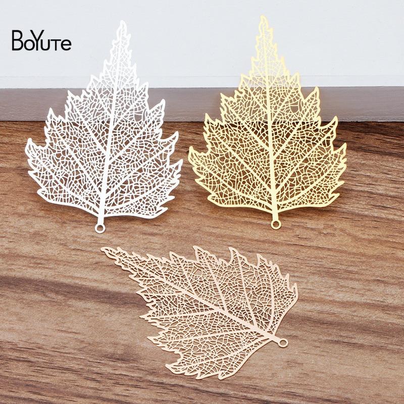 5 Pcs Rose Gold Plated Natural Leaf Skeleton Leaves Pendant Hollow Natural Tree Leaf Real Leaf Metal Plated Filigree Leaf Charm