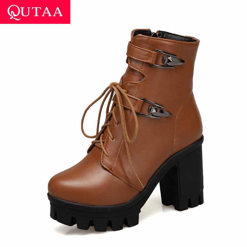 QUTAA 2020 Metal Dekorasyon Lace Up Fermuar Kış yarım çizmeler PU Deri Kare Yüksek Topuk Yuvarlak Ayak Rahat Kadın Ayakkabı Size34-43