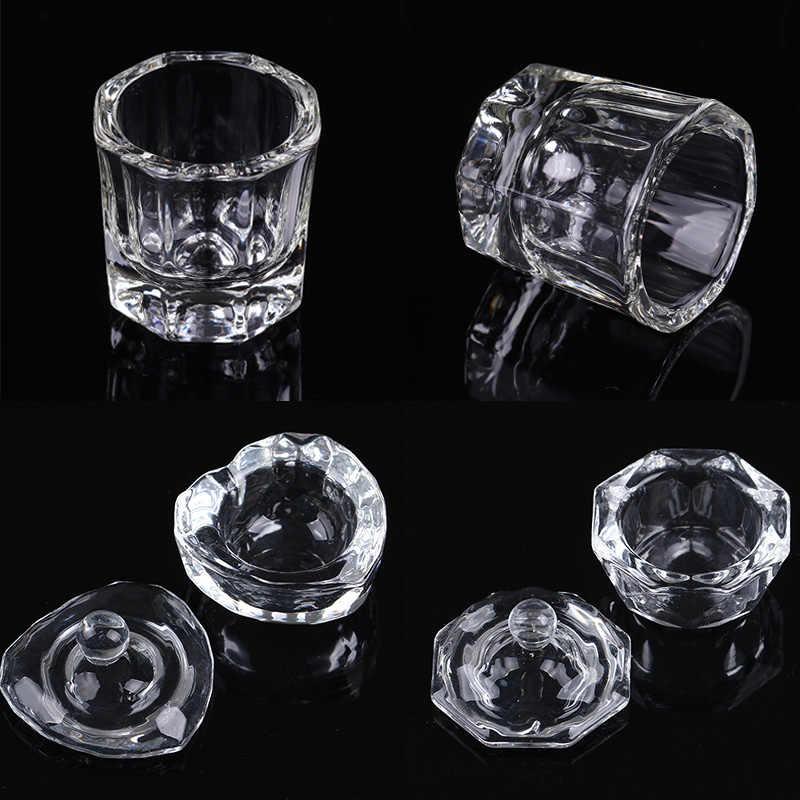 1Pc tipsy akrylowe puchar wyczyść kryształowa miska proszek akrylowy płynny uchwyt Dappen danie wyposażenie salonu Nail artystyczny Design Tool