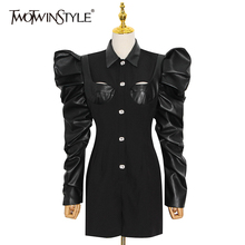 TWOTWINSTYLE Patchwork PU Leather Black Jumpsuit For Women Lapel Puff Long Sleeve High