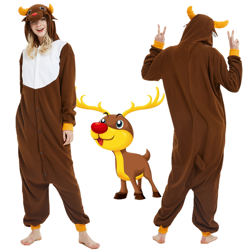 Adult Unisex Christmas Deer Cosplay Kigurumi Jumpsuit Pajamas Polar Fleece Onesies