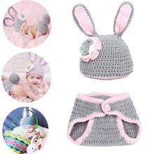2Pcs/Set Newborn Photography Props  Knitted Crochet Warm Photo Costume Baby Hat And Pant Suit Girl Boy Clothes Accessories