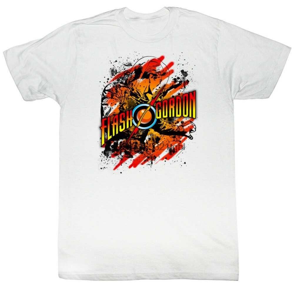 Flash Gordon T-Shirt Splatter White Tee New Summer Style Man Print T-Shirt Hipster Cotton Tops Tees(China)