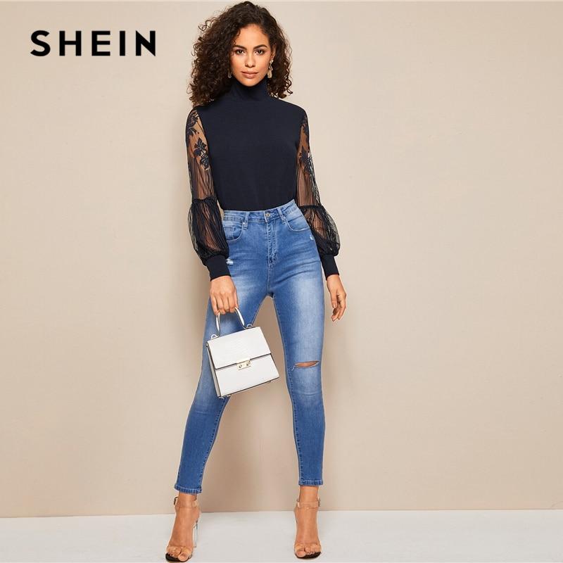 SHEIN Women High Neck Lace Lantern Sleeve Top Fashion Mesh Blouse Women's Long Sleeve Pattern Printing Ladies Tops 5
