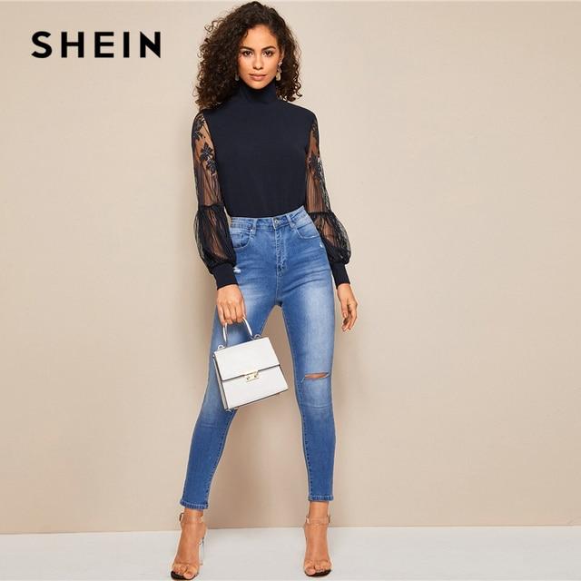High Neck Lace Lantern Sleeve Top Fashion Mesh Blouse Pattern Printing Ladies Tops 5