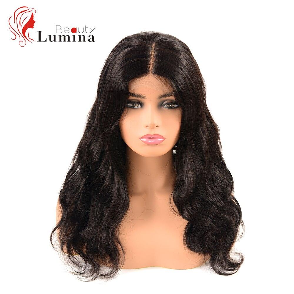 Beauté Lumina pré plumé naturel 30 pouces malaisien cheveux humains perruques vague de corps 4X4 dentelle perruques pour les femmes noires Remy cheveux humains perruques - 2