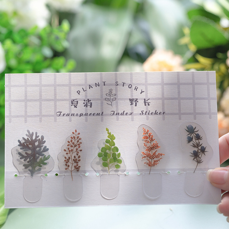 LoveFrom Bookmark 5 Pcs/lot Cute Transparent Pvc Sticker Bag Journal Diary DIY Plant Material Stickers Stationery School Supply