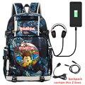 Рюкзак с принтом для мальчиков и девочек  Водонепроницаемый школьный usb-рюкзак для мальчиков и девочек  большой подростковый рюкзак