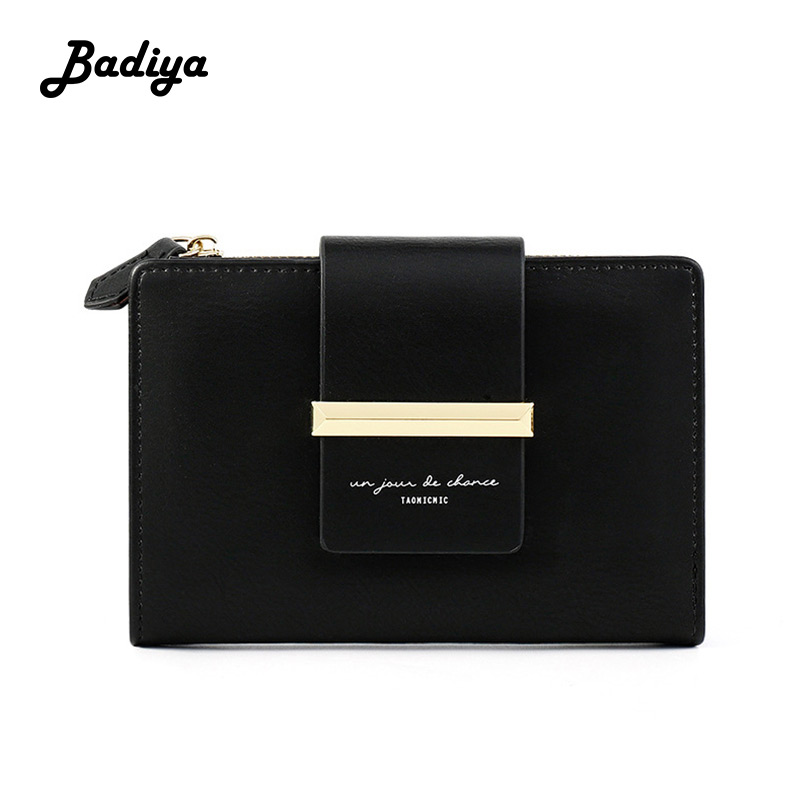 Fashion Retro Women Wallets Multifunction Breif Solid Color Coin Pocket Short Zipper Buckle Purse Card Holder Ladies Clutch Bag